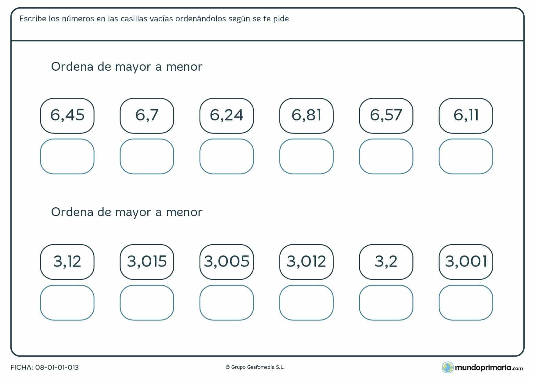 Ficha de ordenar números con decimales en el orden que se te pida y de manera correcta.