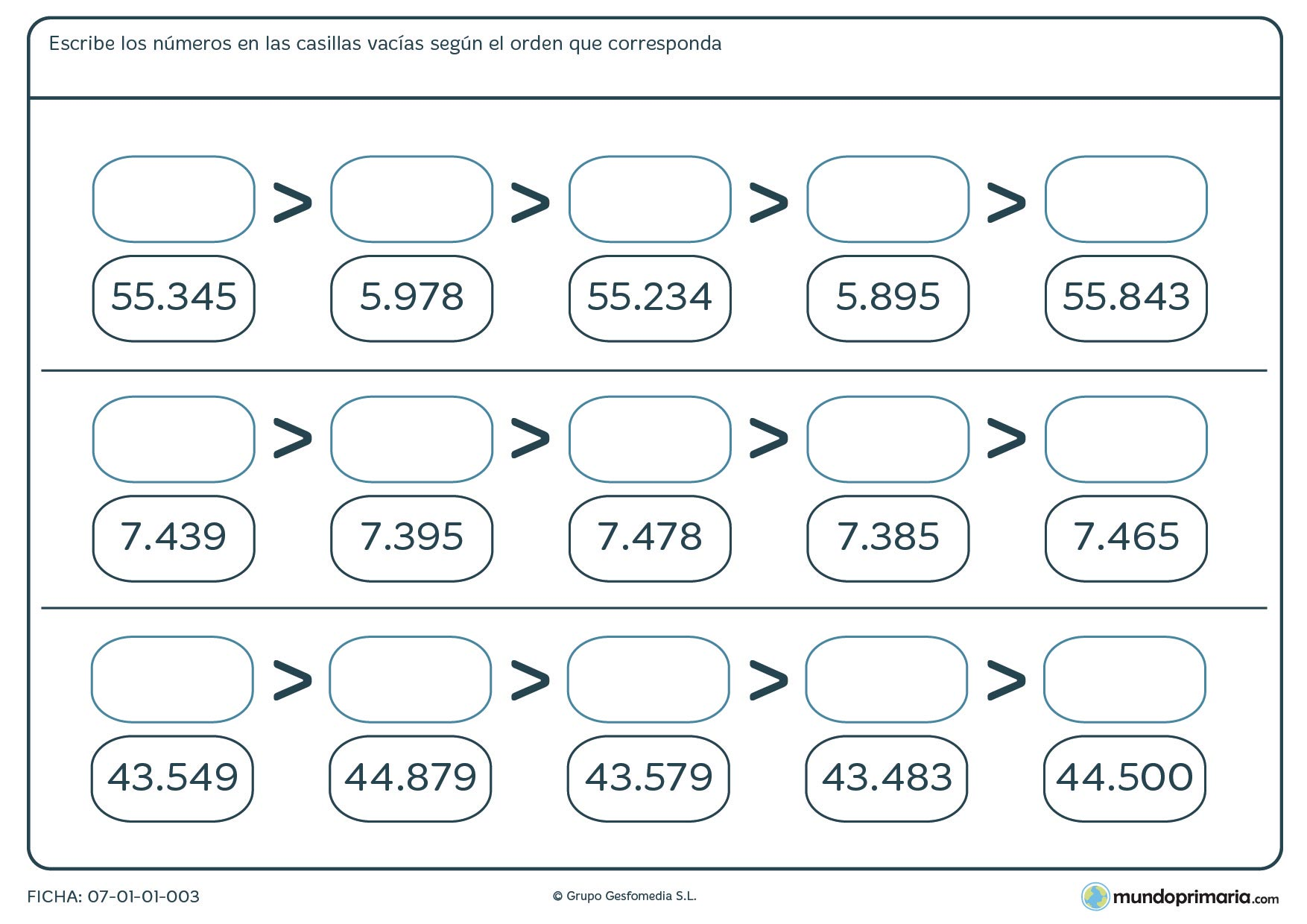 Ficha de ordenar números de 5 cifras completando los huecos en blanco de mayor a menor.