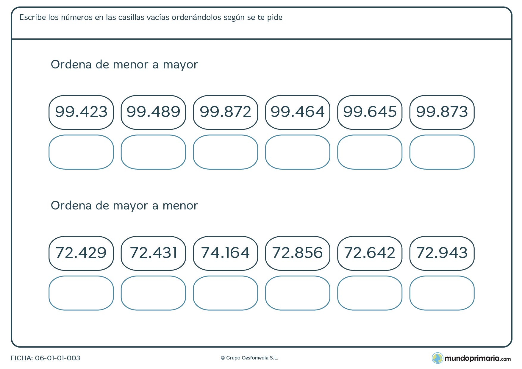 Ficha de ordenar números de 5 cifras para primaria