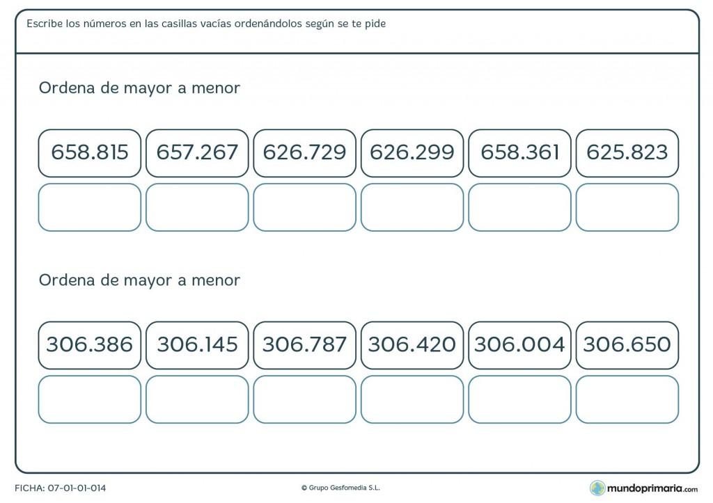 Ficha de ordenar números de 6 cifras para niños de 5º de primaria