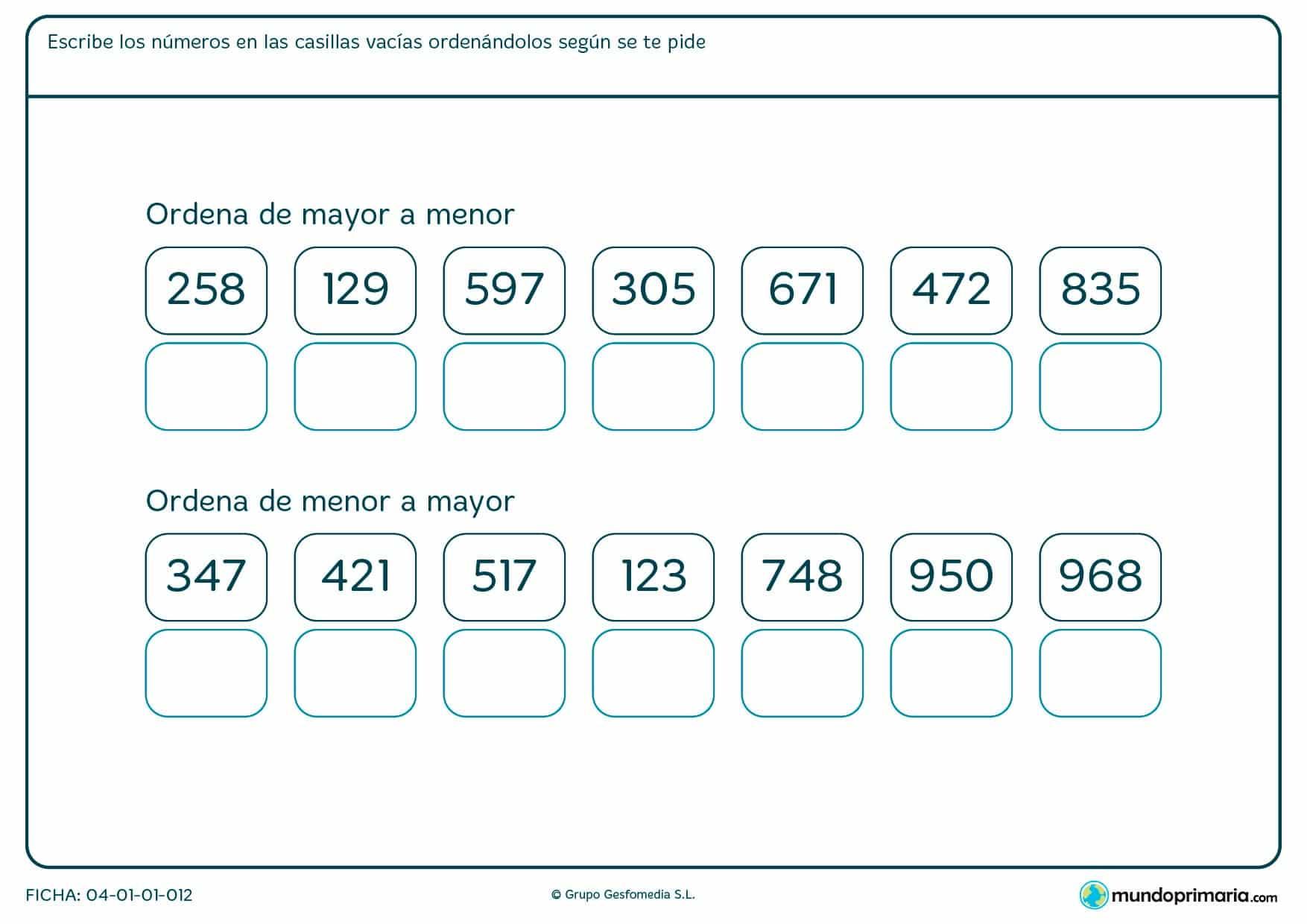 Ficha de ordenar números de mayor a menor o viceversa escribiéndolos en orden en las casillas vacías.