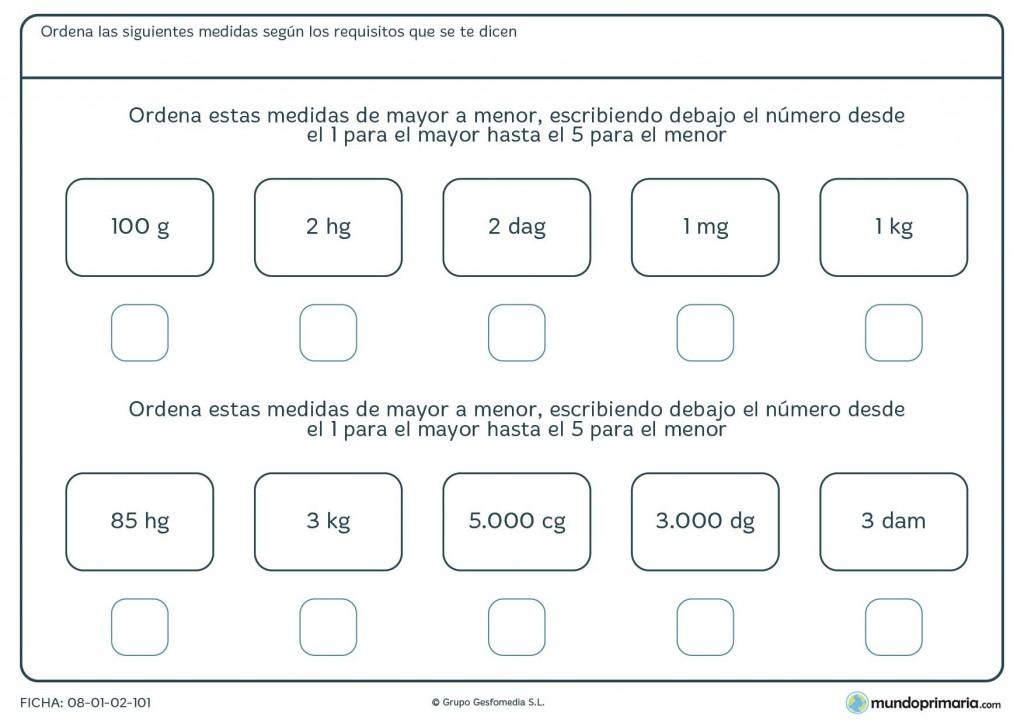 Ficha de ordenar pesos para primaria