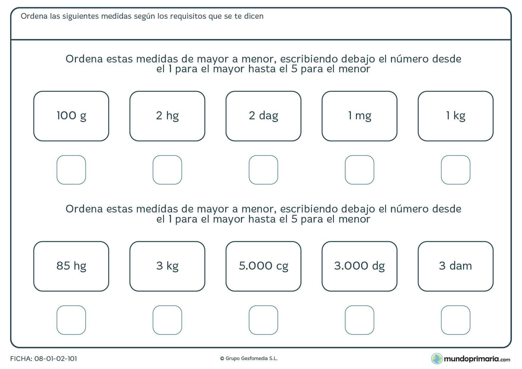 Ficha de ordenar pesos con diferentes unidades, de mayor a menor.