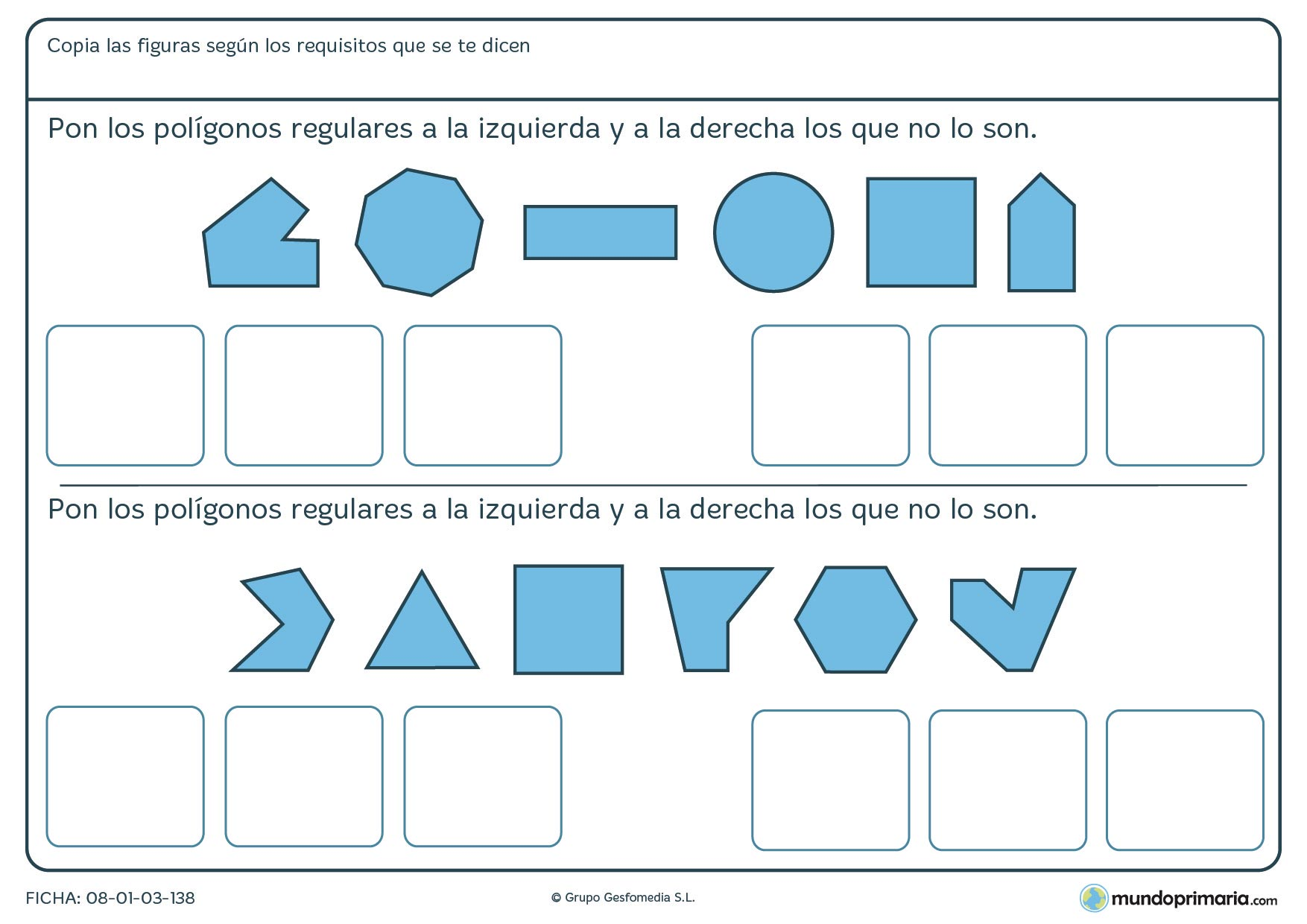 Ficha de ordenar polígonos regulares en la que tienes que poner los regulares en un lado y los que no lo son en otro.