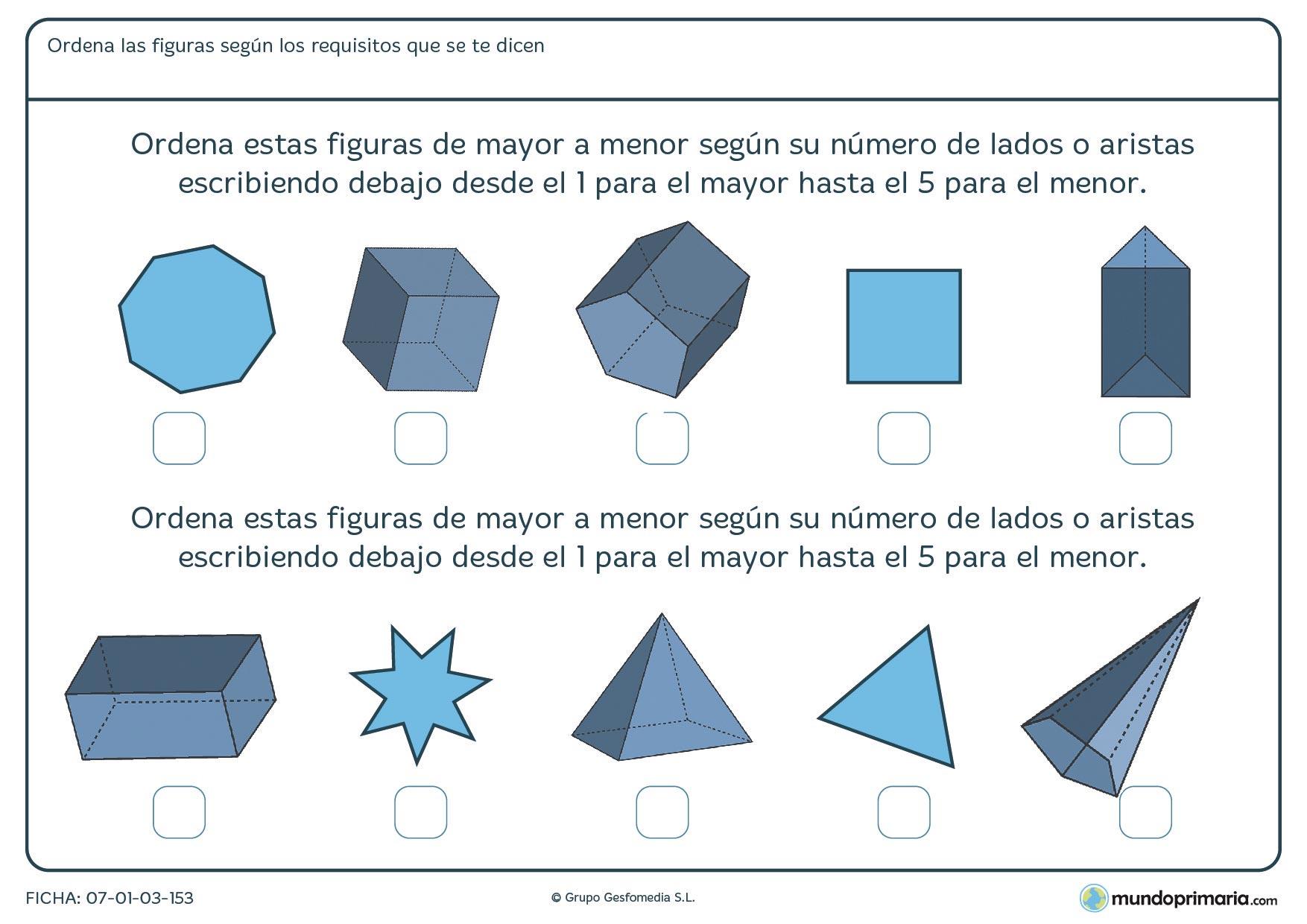 Ficha de ordenar por aristas, en número de mayor a menor, un grupo de figuras geométricas.