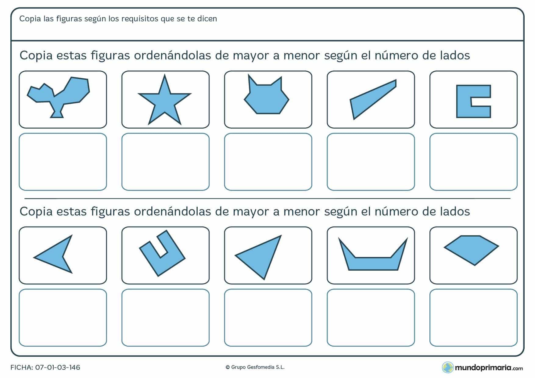 Ficha de ordenar por lados de mayor a menor las siguientes figuras geométricas.