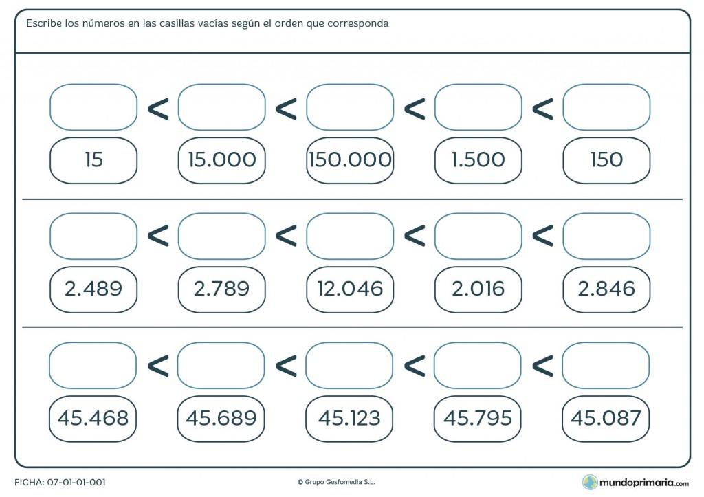 Ficha de organizar números para primaria