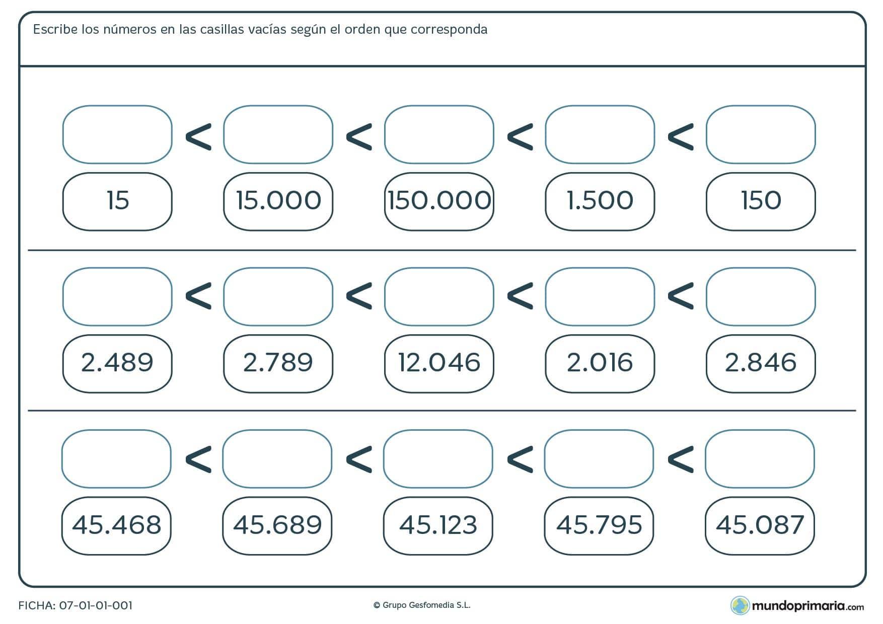 Ficha de organizar números de menor a mayor escribiendo las cantidades en las casillas en blanco.