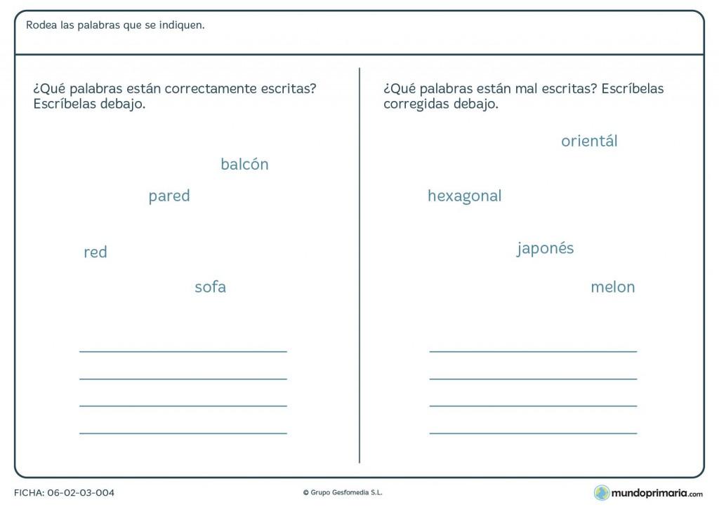 Ficha de palabras bien o mal escritas para primaria
