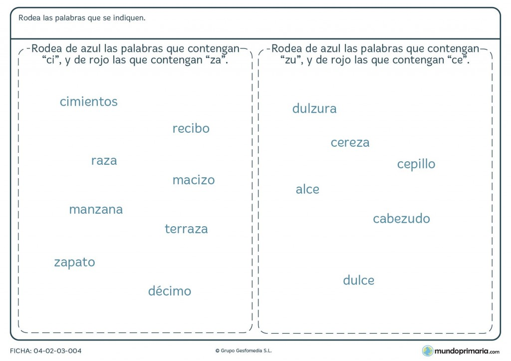Ficha de palabras con C para niños de primaria