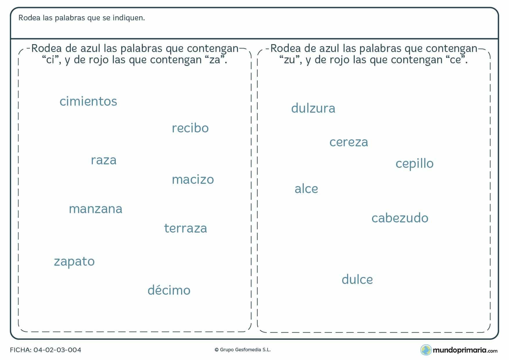 Ficha de palabras con C en las que debes rodearlas con diferente colores las que contengan ce,ci.