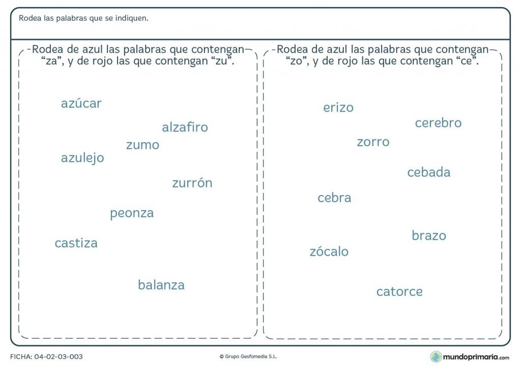 Ficha de palabras con Z para niños de primaria
