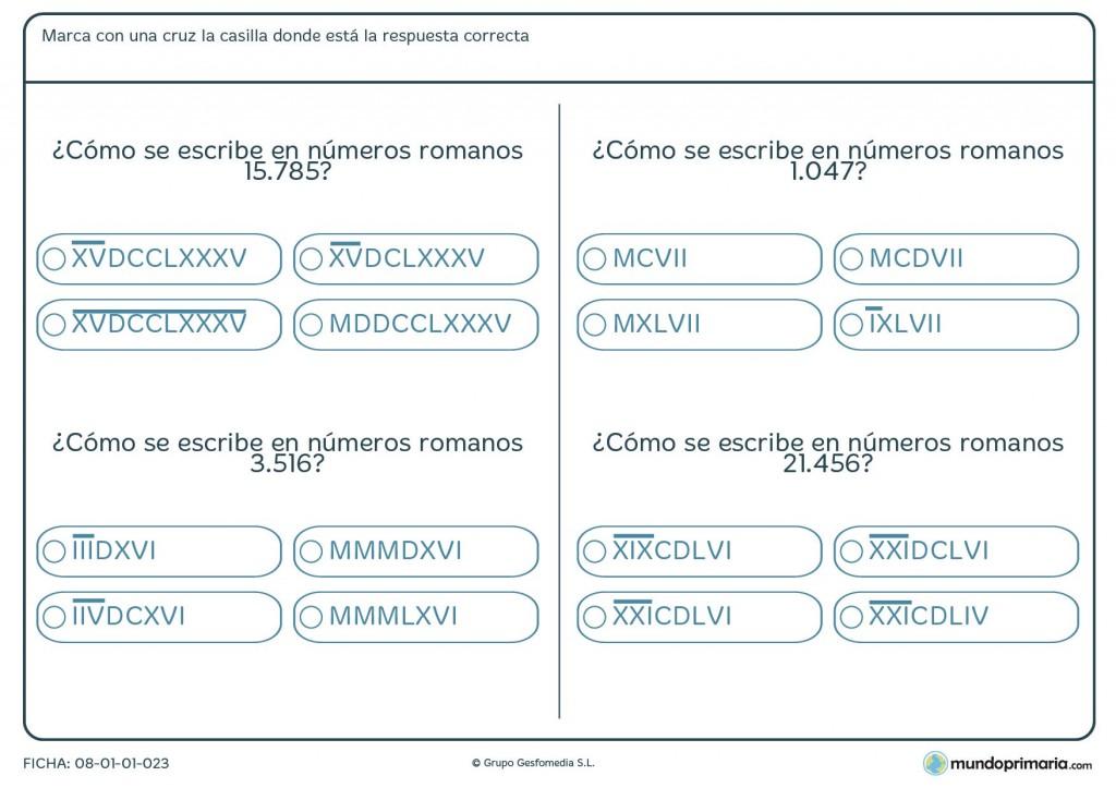 Ficha de pasar números de 5 cifras a romanos para primaria