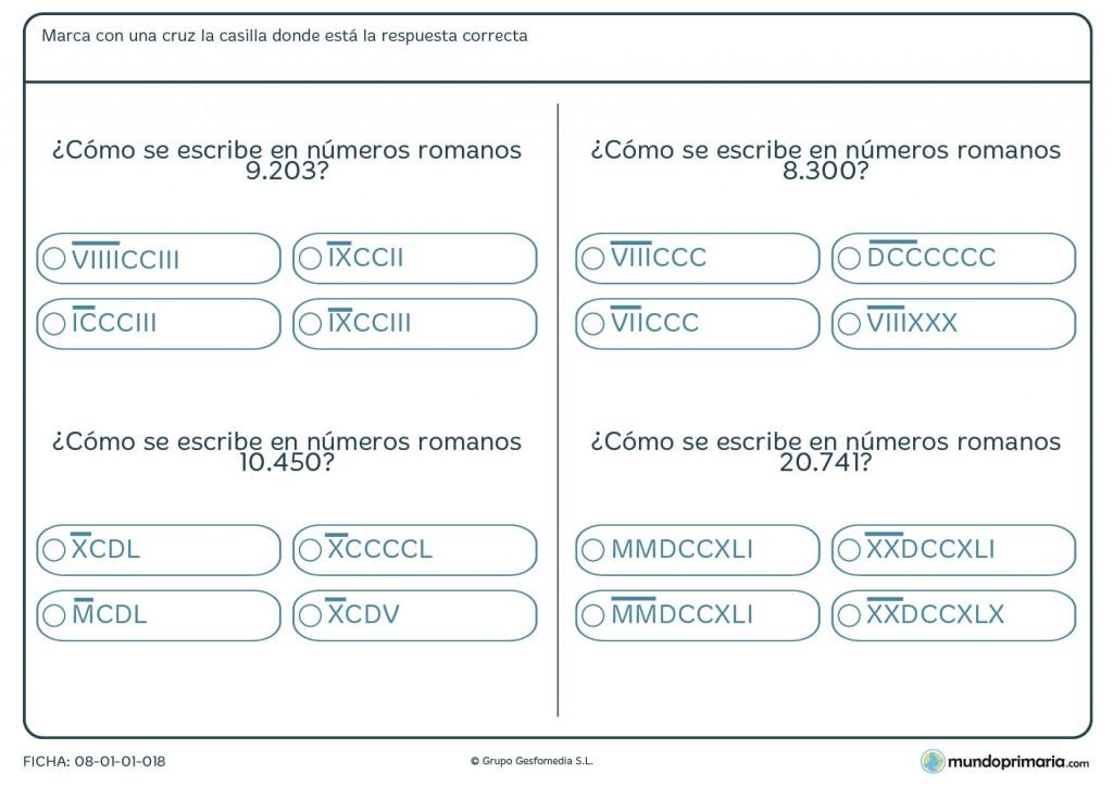 Ficha de pasar números romanos de 5 cifras para primaria