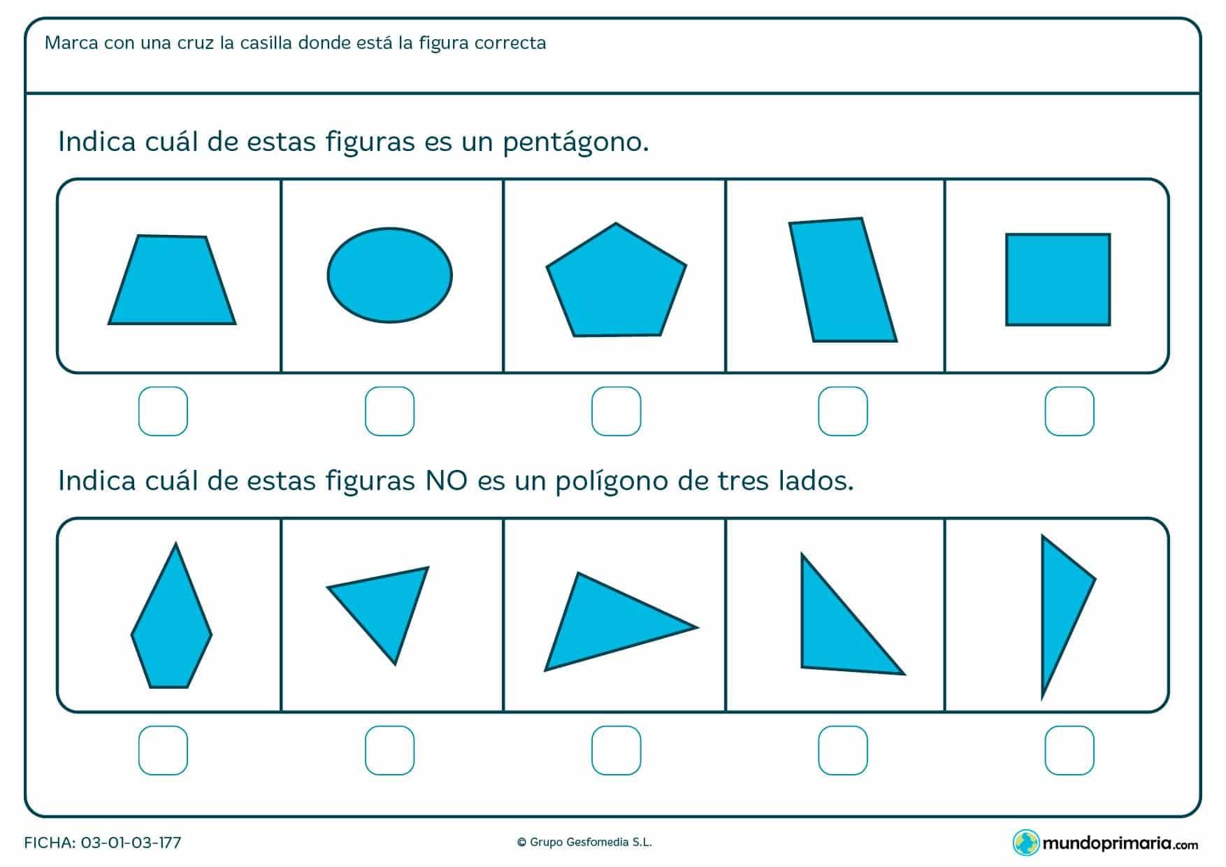 Ficha de pentágonos para niños de 6 años con refuerzo escolar