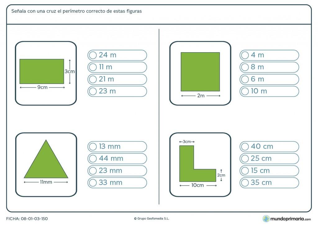 Ficha de perímetro de figuras para niños de 6º de primaria