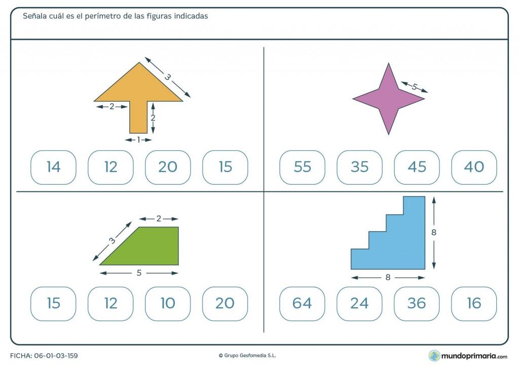 Ficha de perímetro de figuras para primaria