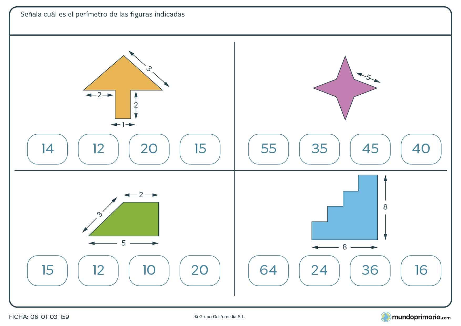 Ficha de perímetro de figuras en la que deberás señalar el perímetro correcto entre los que te damos.