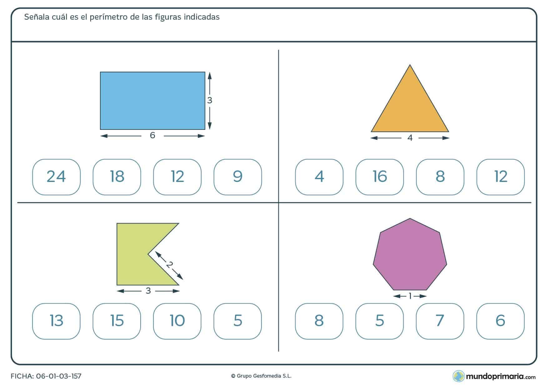 Ficha de perímetros en la que te damos 4 figuras y tienes que calcular el perímetro de cada una.