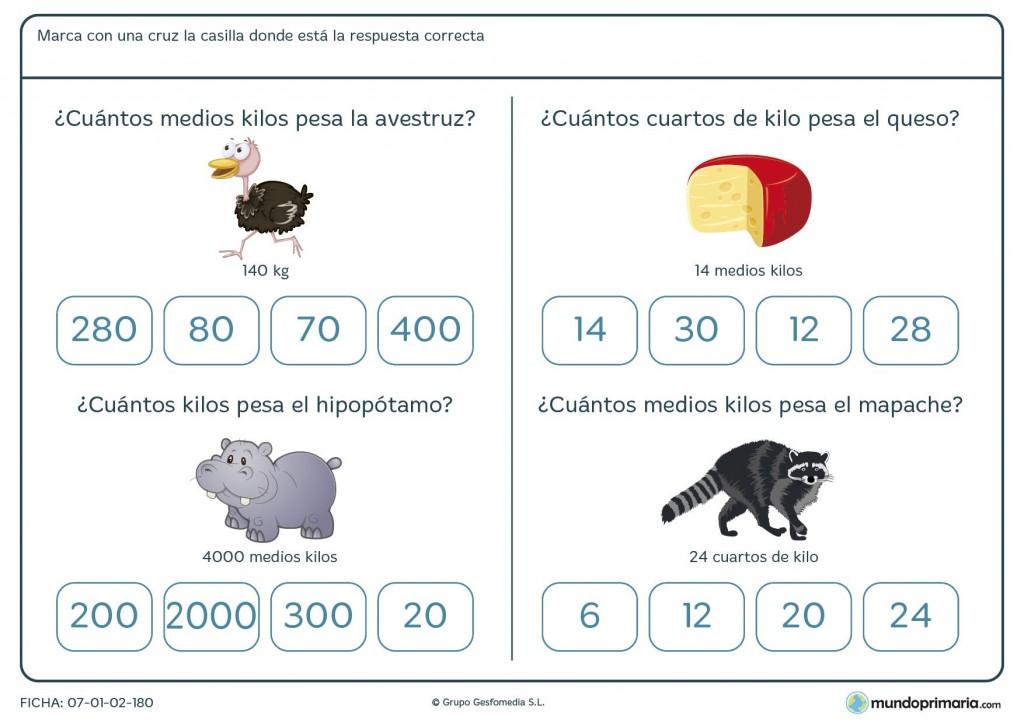 Ficha de peso de los objetos para primaria