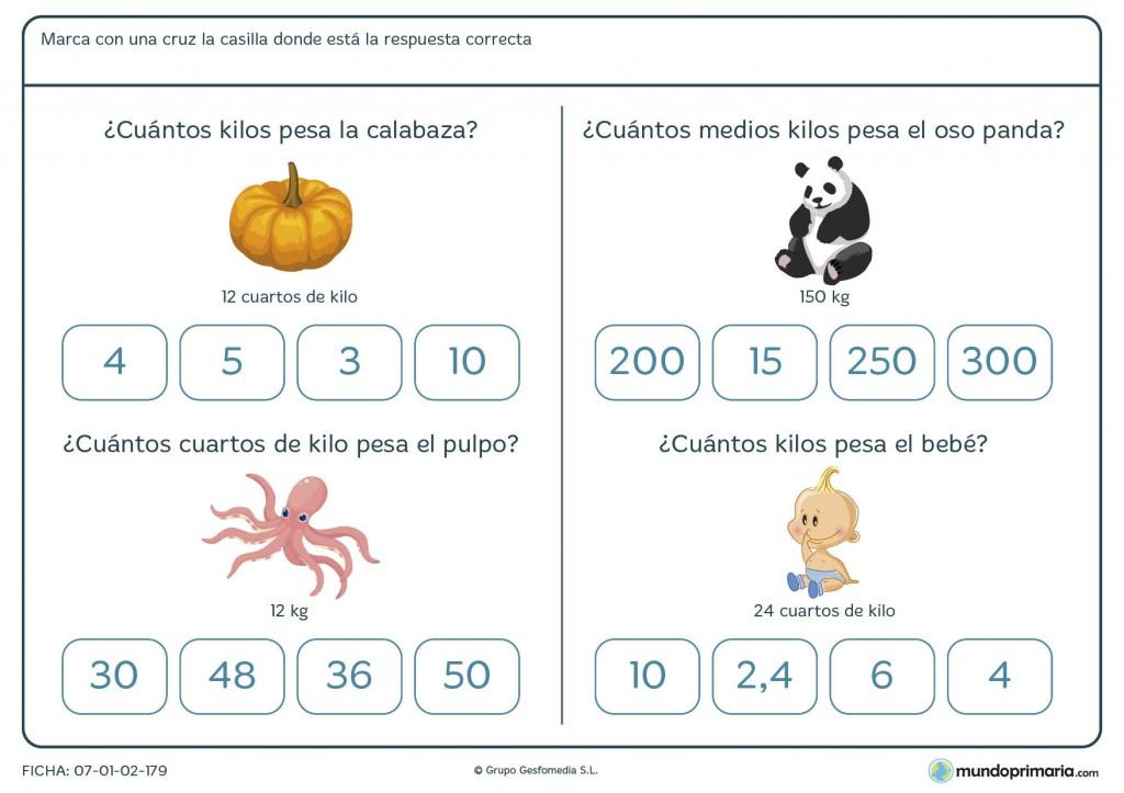 Ficha de peso en kilos para niños de primaria
