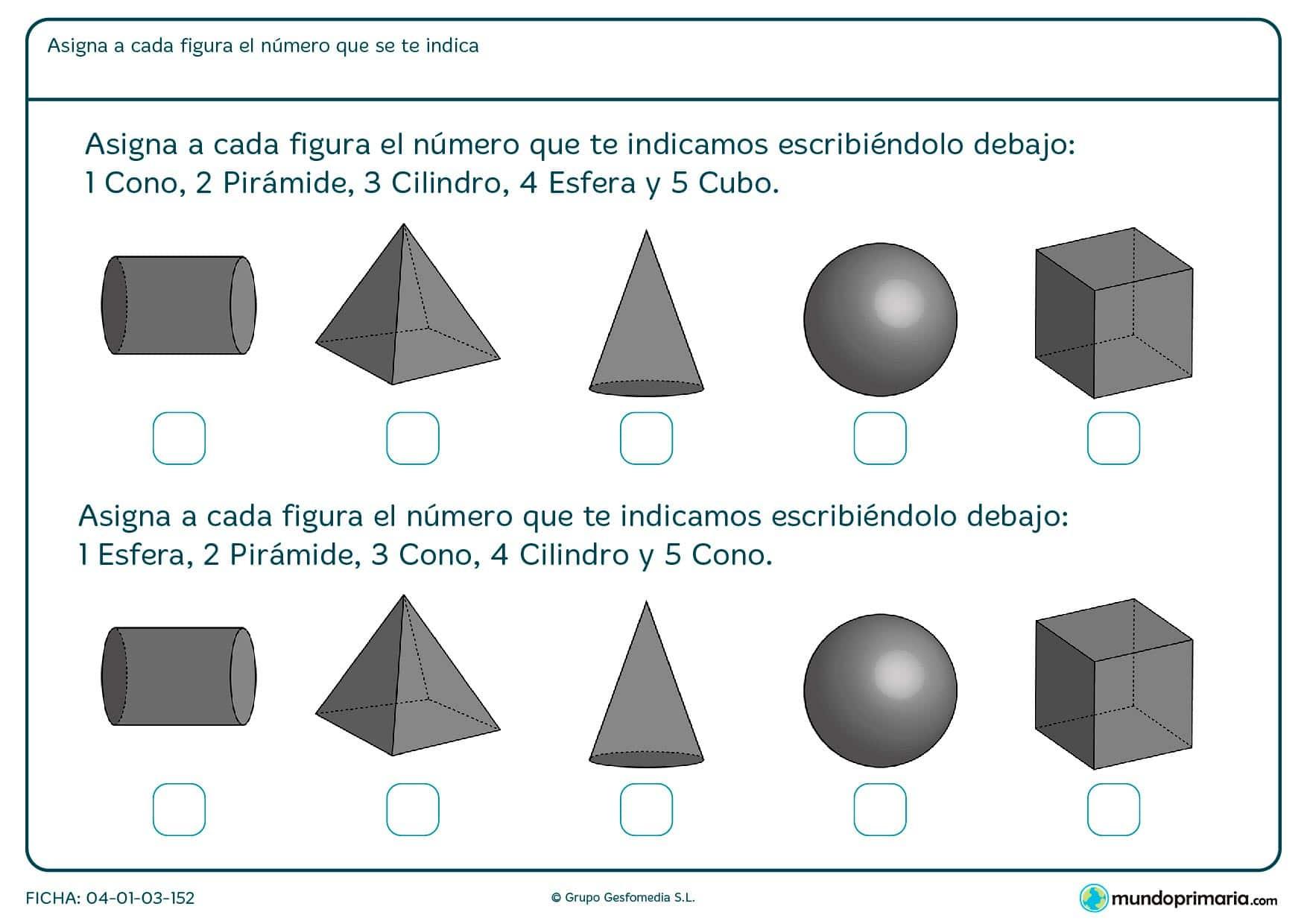 Ficha de pirámides y otras figuras geométricas que debes colocar con sus respectivos nombres.
