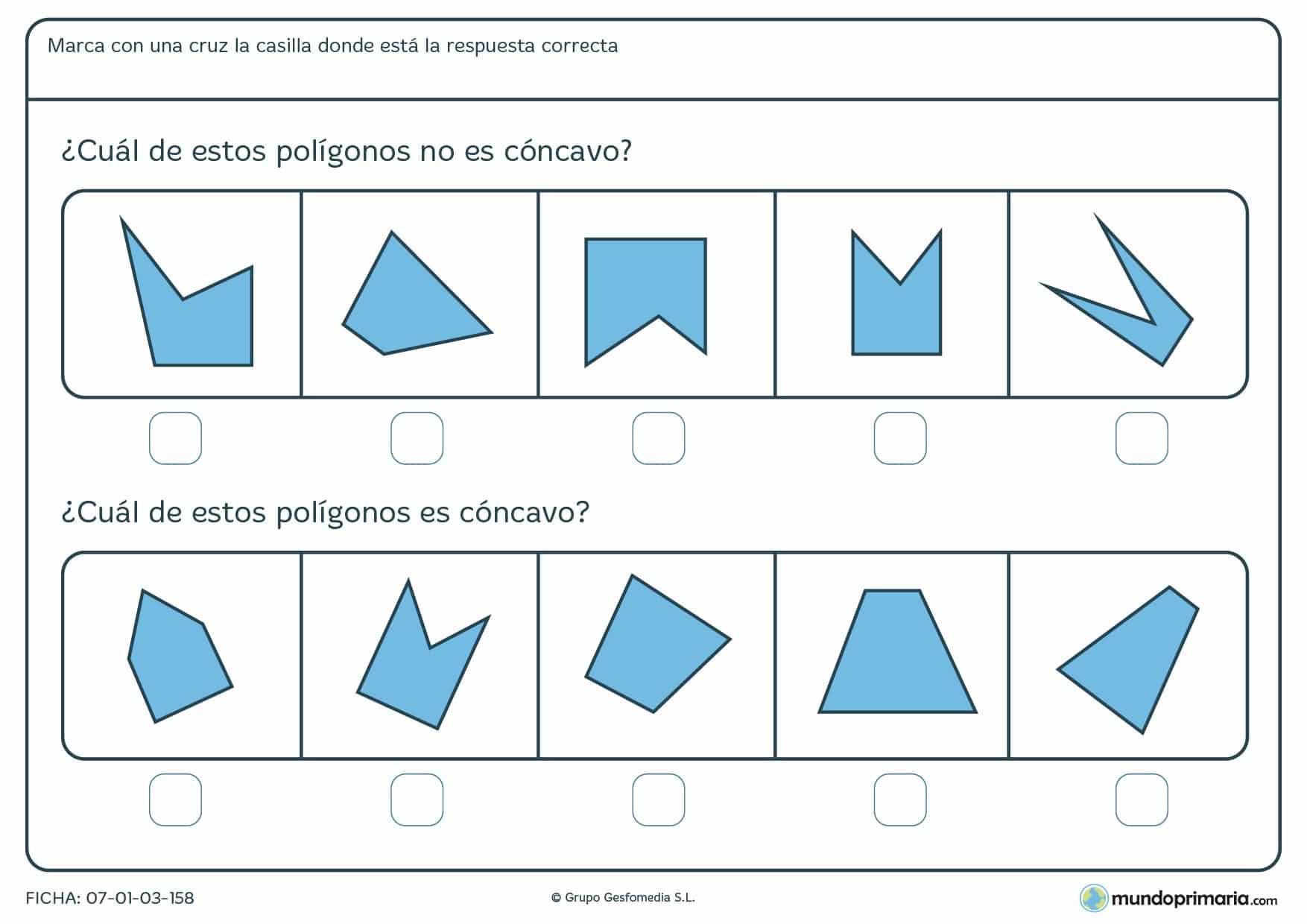 Ficha de polígonos cóncavos en la que debes reconocer cuál lo es o cuál no lo es.