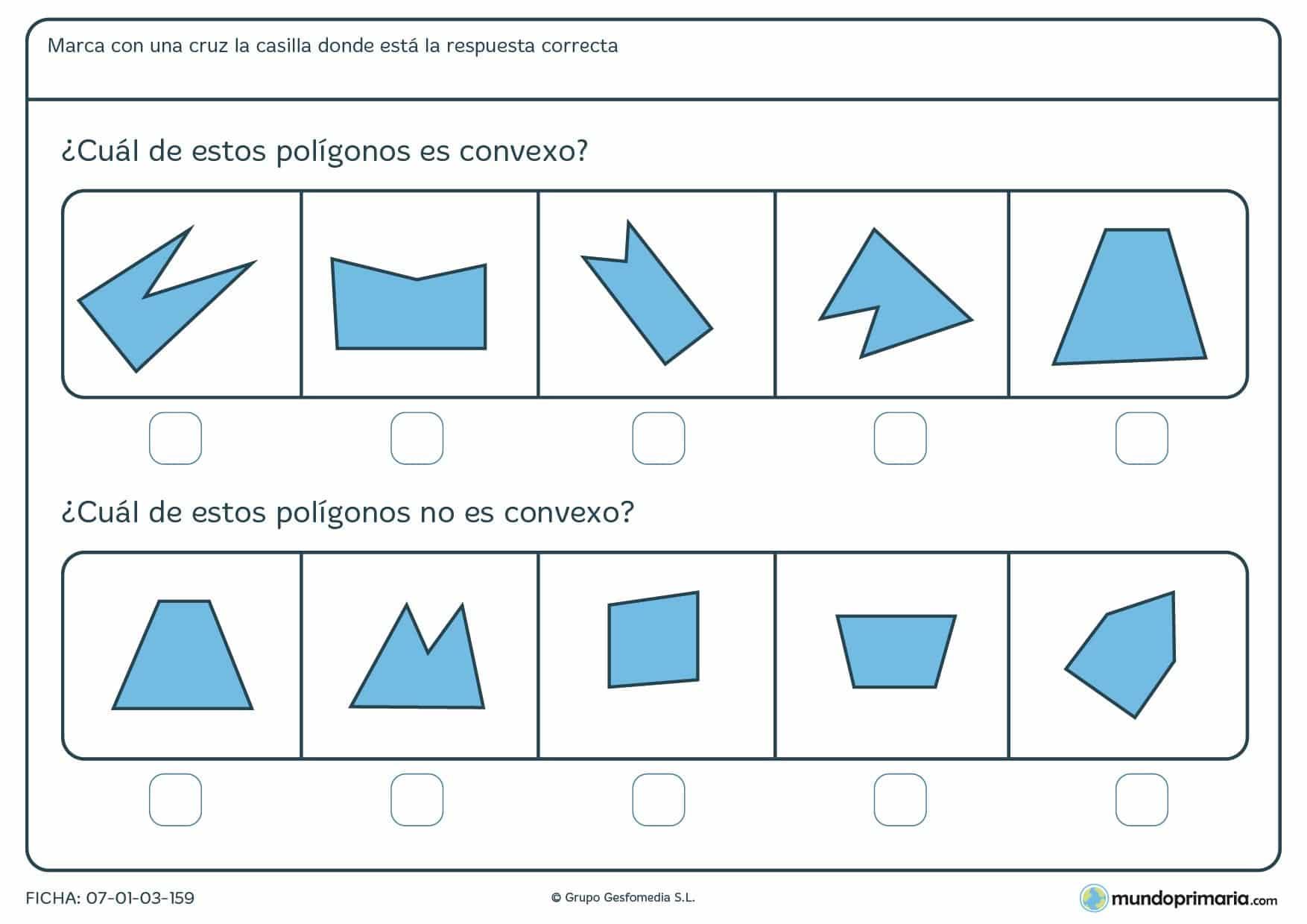 Ficha de polígonos convexos en la que has de marcar si son o no convexos, según el enunciado.