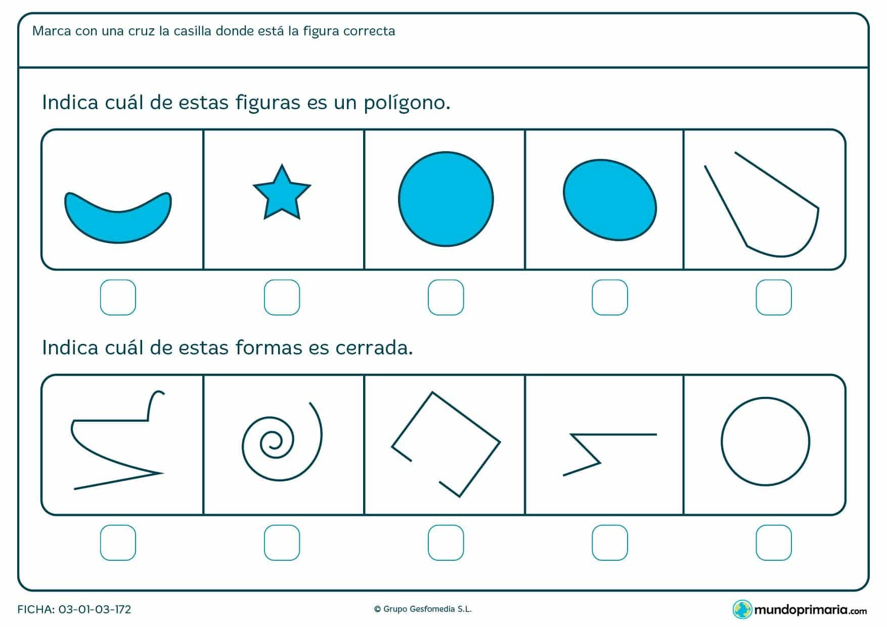 Ficha de polígonos para niños de primaria para repasar