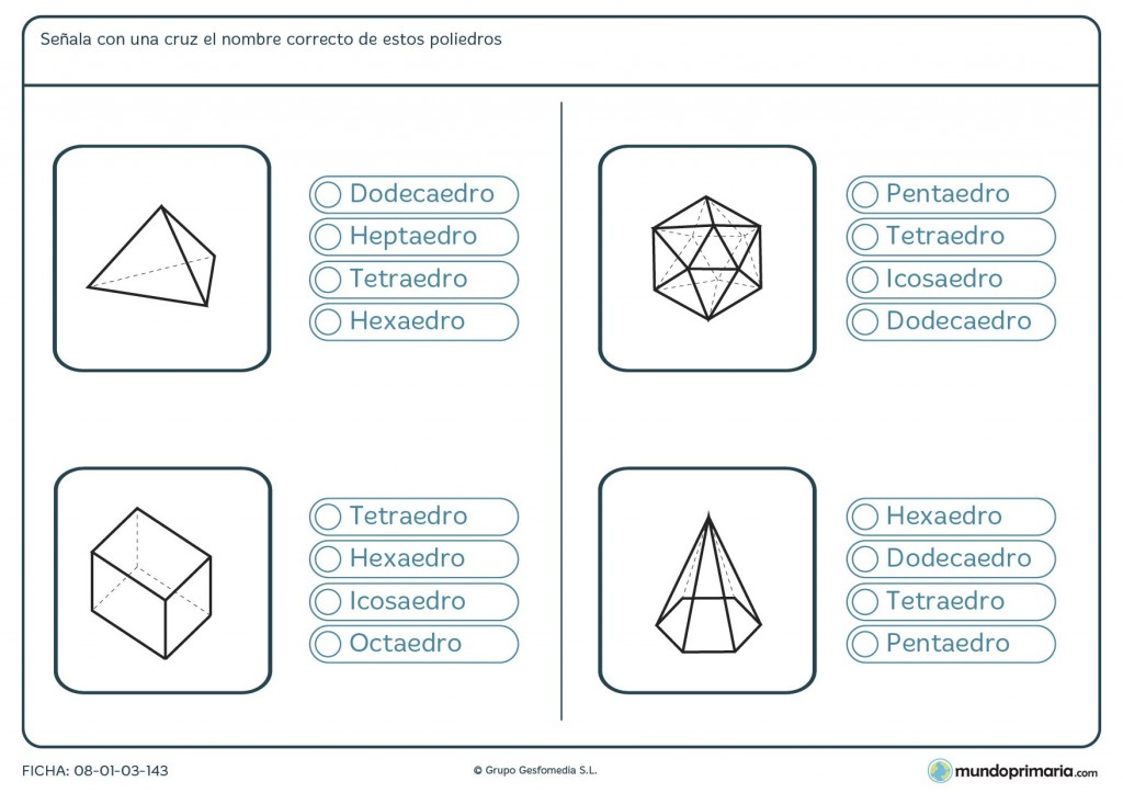Ficha de poliedros para sexto de primaria