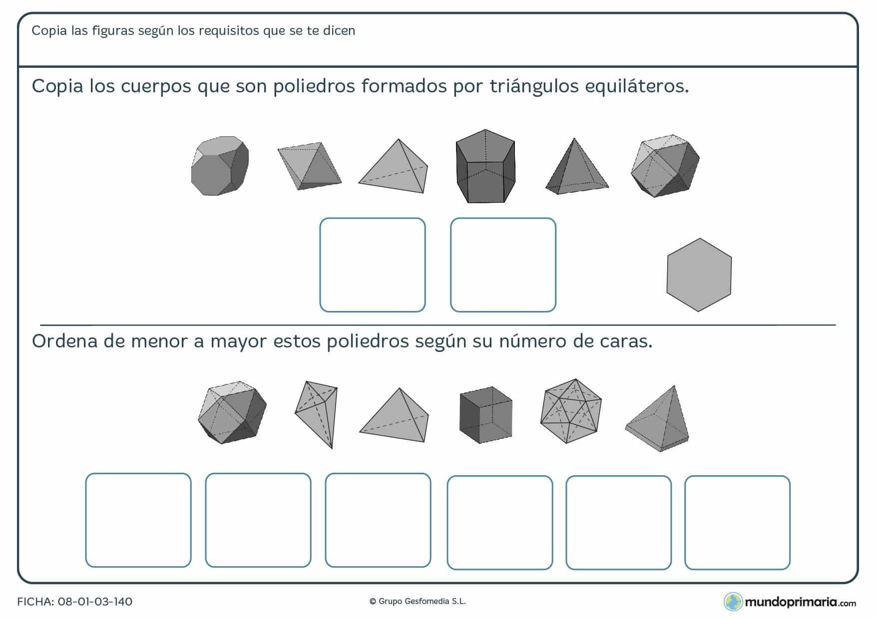 Ficha de poliedros triangulares en los que debes buscar los que tengan sus caras de equilateros.