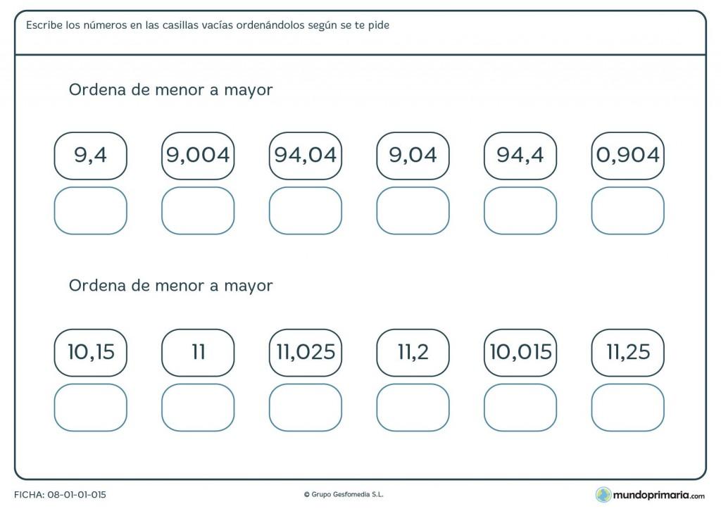 Ficha de poner de menor a mayor con decimales para primaria