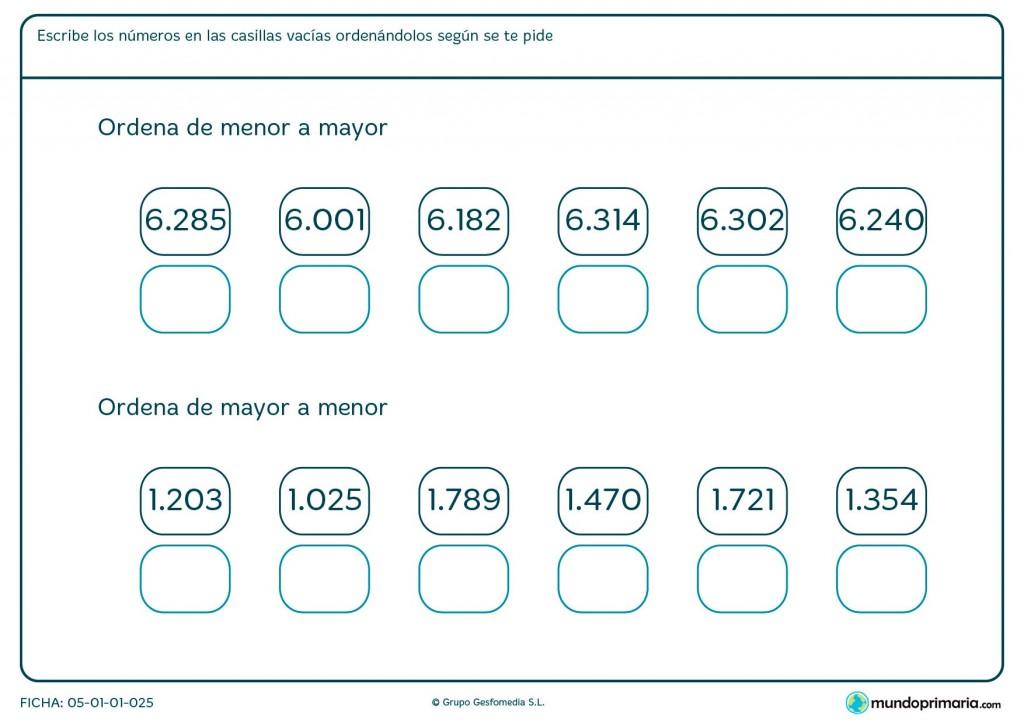 Ficha de poner en orden los números para primaria para primaria