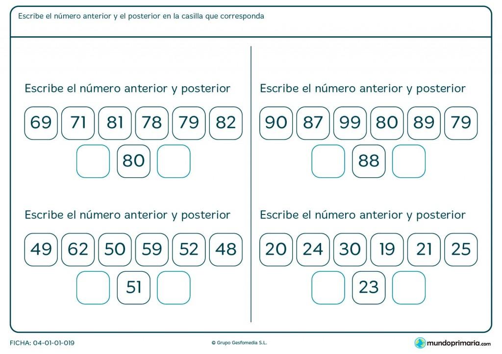 Ficha de poner número posterior para primaria