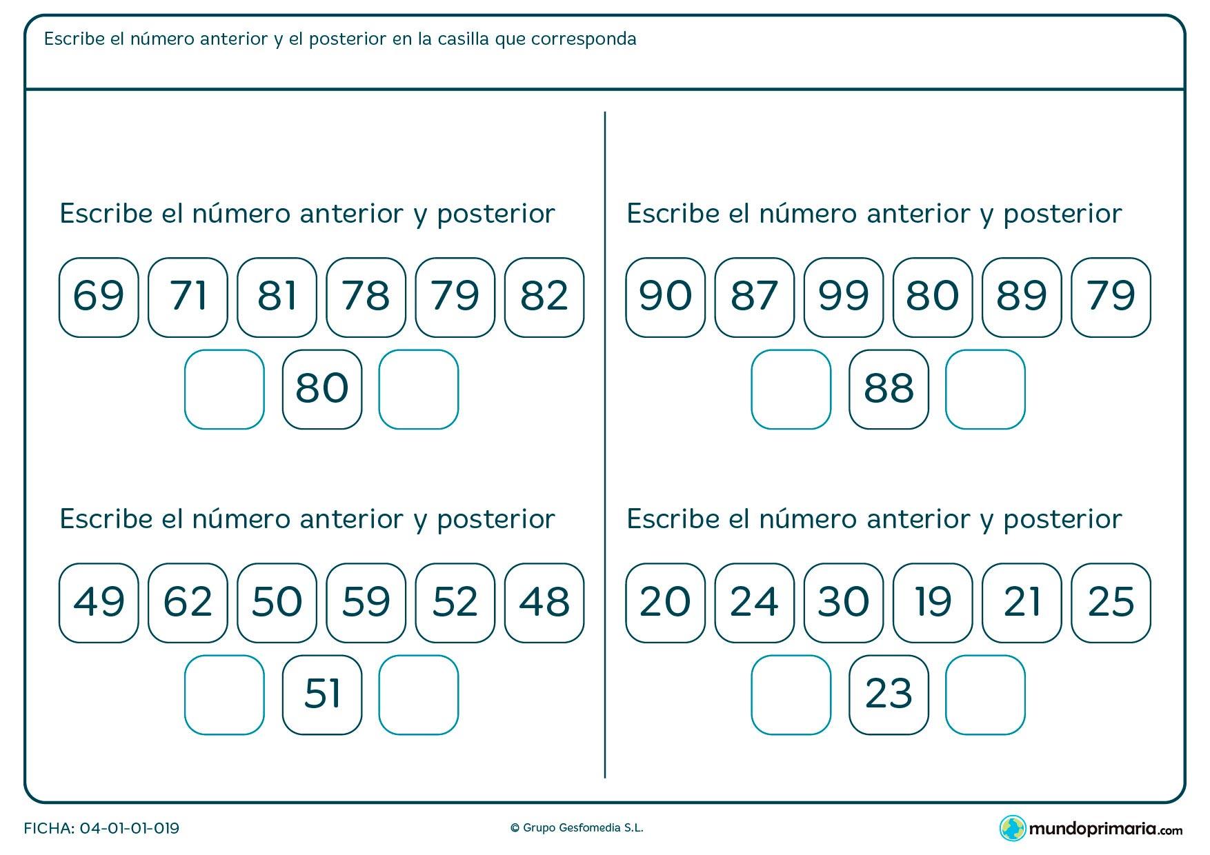 Ficha de poner número posterior y anterior correctamente con las opciones que te facilitamos,