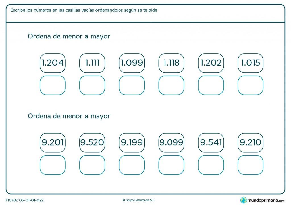Ficha de poner números empezando por el menor para primaria