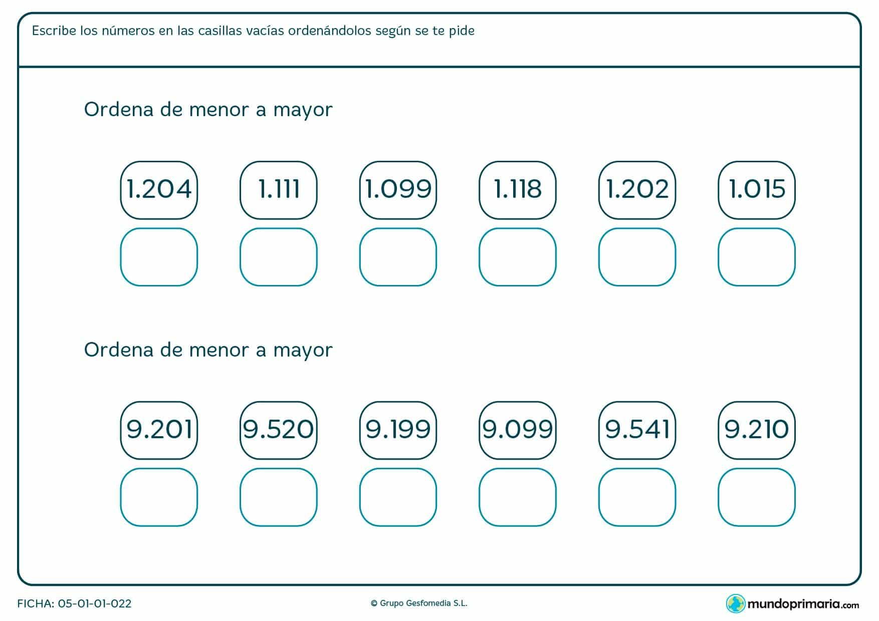 Ficha de poner números, empezando por el menor y terminando por el mayor, de cuatro cifras.