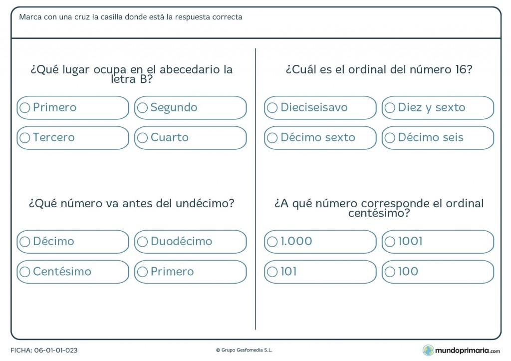 Ficha de posiciones de números para primaria