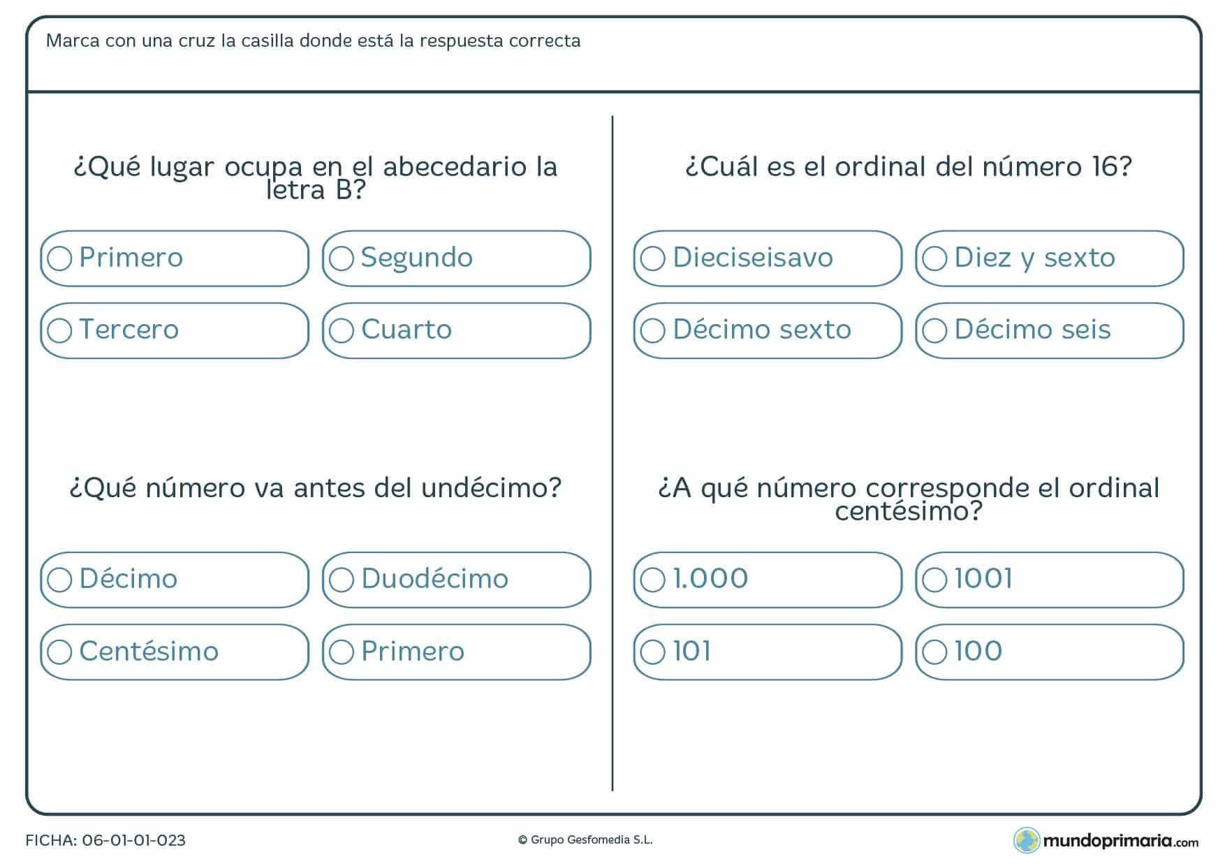 Ficha de posiciones de números comunes según sea su ordinal.