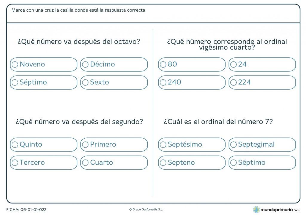Ficha de posiciones de ordinales para primaria