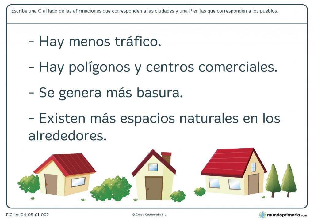 Ficha de pueblos y ciudades para primaria