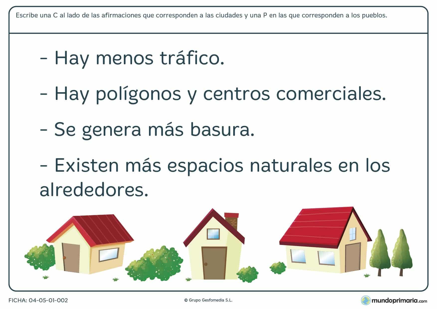Ficha de pueblos y ciudades en la que has de distinguir las definiciones relaccionadas con las ciudades de las de los pueblos.
