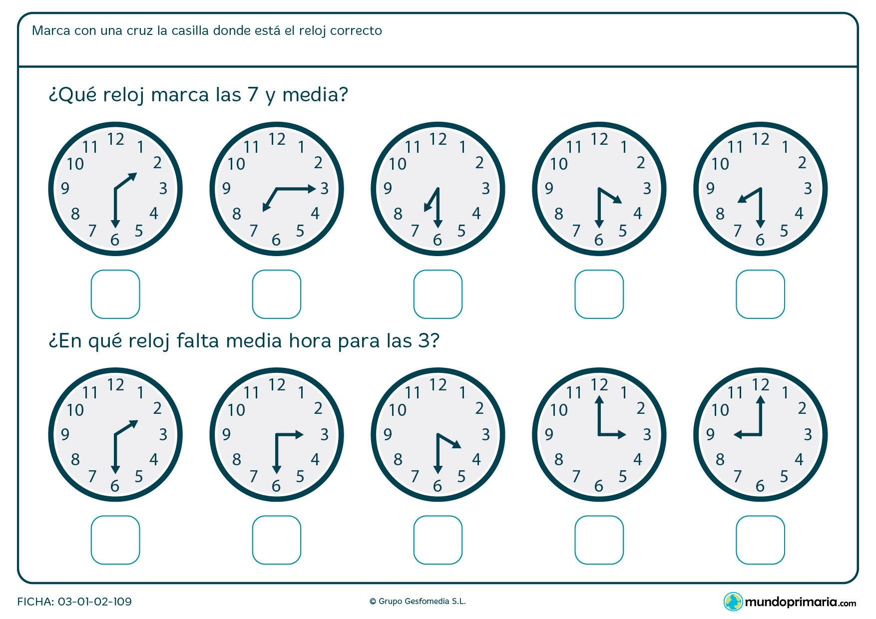 Ficha de qué falta para una hora en la que debes señalar los relojes que marcan las horas medias que te pedimos.