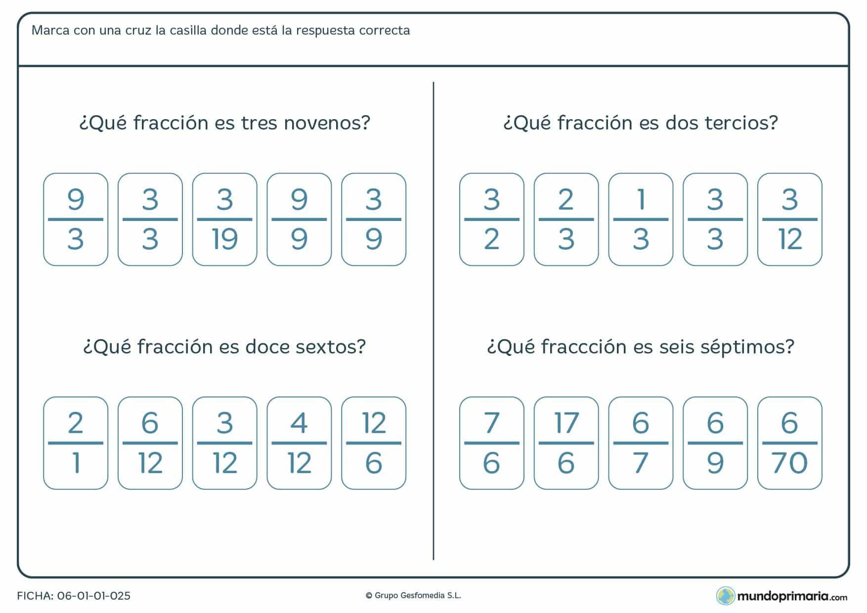 Ficha de qué fracción es la escrita pasada a números.