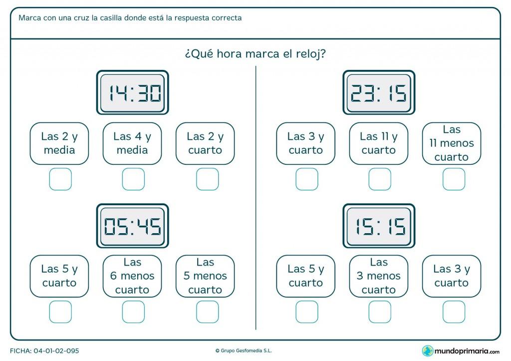 Ficha de qué hora digital es para primaria