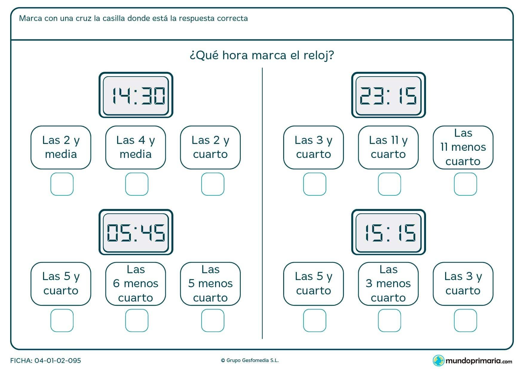 Ficha de qué hora digital es, y por tanto cuál de las 3 respuestas que te damos es la correcta.