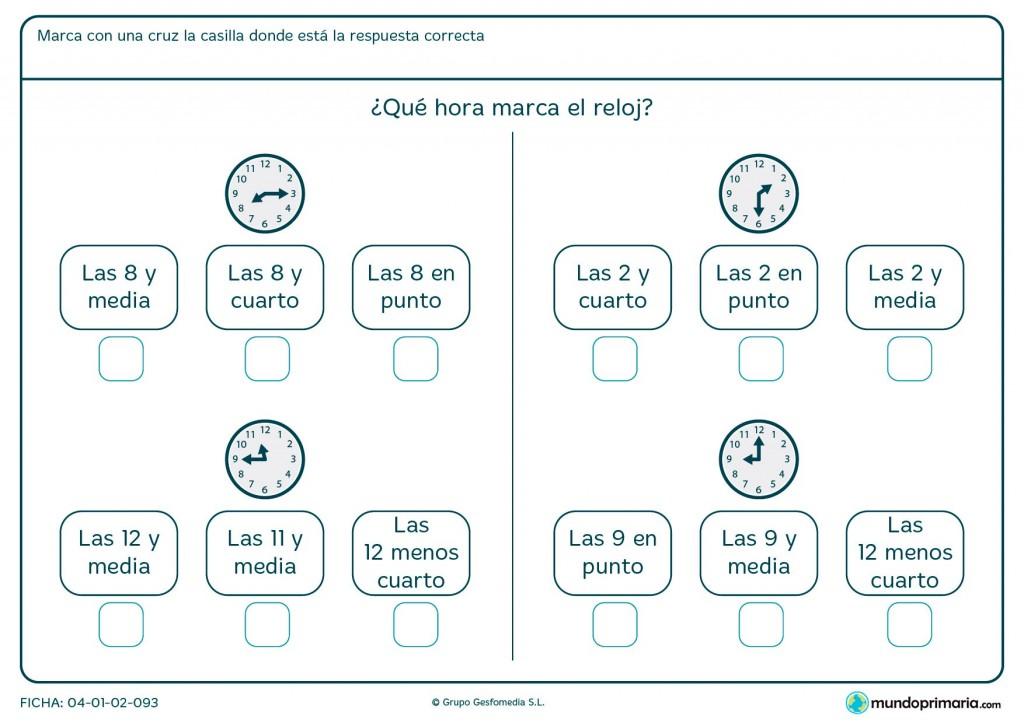 Ficha de qué hora señala el reloj para primaria
