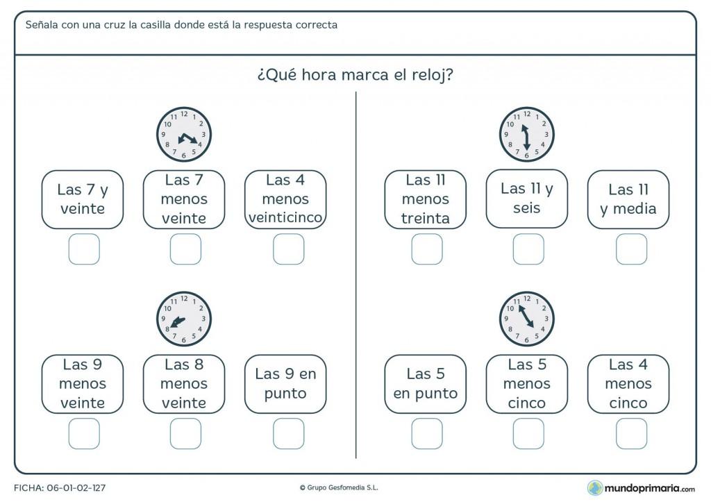 Ficha de qué marca el reloj para primaria