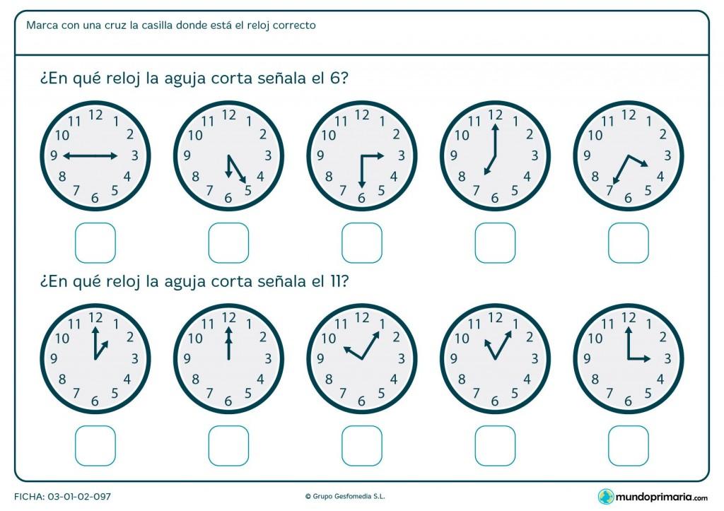 Ficha de qué marca la aguja del reloj