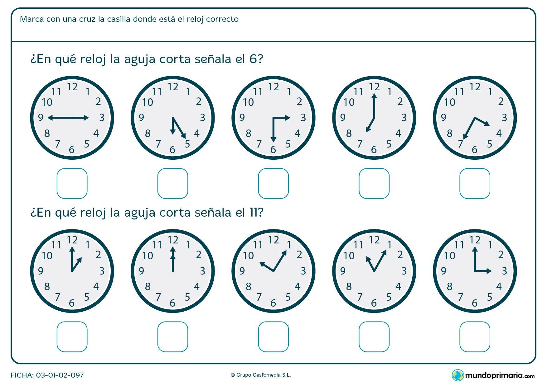 Ficha de qué marca la aguja del reloj para decir en qué reloj son las 6 en punto y en cuál las 11 en punto.